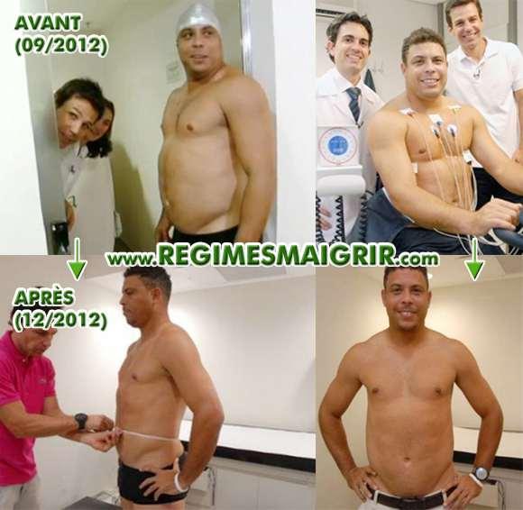 Ronaldo avant puis vers la fin de l'émission de télé-réalité qui lui a permis de perdre du poids