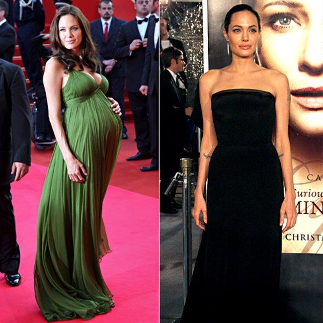 Angelina Jolie posant pour les photographes avant et après sa grossesse