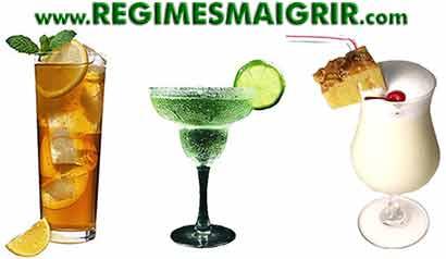 Quelques cocktails caloriques : Long Island Iced Tea, Margarita, Pina Colada