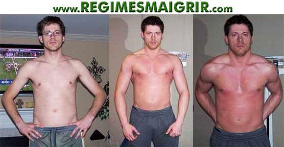 Evolution de la masse musculaire d'un homme en l'espace de quelques semaines de musculation