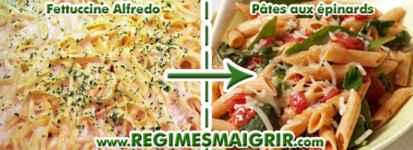 Remplacer la Fettuccine Alfredo par des pâtes aux épinards