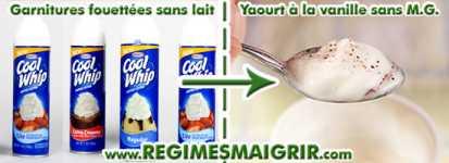 Remplacer les garnitures fouett�es sans lait par le yaourt vanille sans mati�res grasses