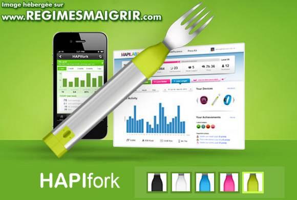 La fourchette intelligente et connect�e HapiFork, montr�e ici au-dessus d'un graphique visible dans le logiciel vendu dans le m�me paquet