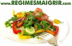 Une assiette de salades de légumes non-féculents apporte beaucoup d'eau pour apaiser la faim avec peu de calories