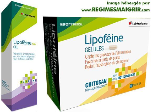 Les boîtes du gel et des gélules de Lipoféine, fabriqués par les laboratoires Arkopharma