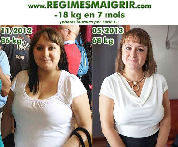 Voici une photo qui montre Lucie Le avant puis après avoir perdu dix hut kilogrammes en sept mois