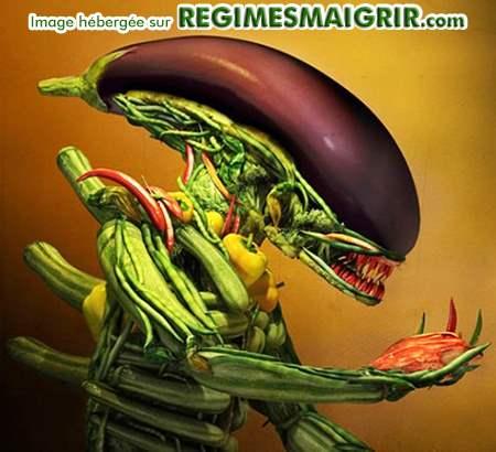 Le monstre de science-fiction Alien est reconstitué entièrement par des légumes ici