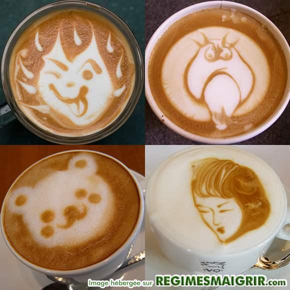 Dessins effectués sur la surface des tasses de café au lait