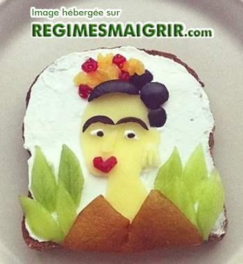 Portrait de Frida Kahlo posé sur un toast