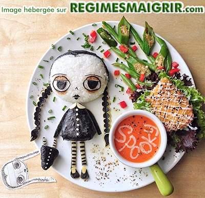 Mercredi de la famille Addams dans un style alimentaire