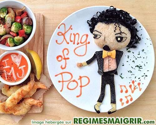 Le défunt chanteur Michael Jackson est dessiné avec des aliments uniquement ici