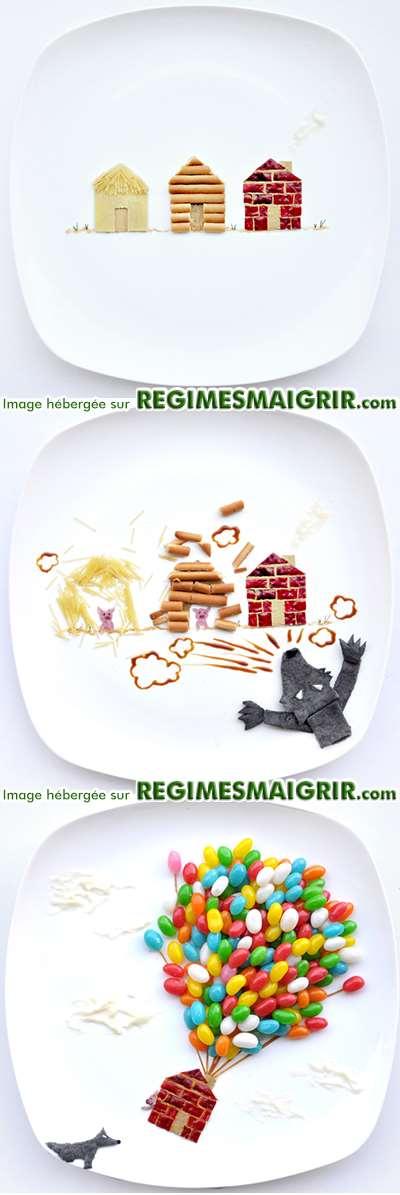 Conte des trois petits cochons et le méchant loup raconté dans des assiettes
