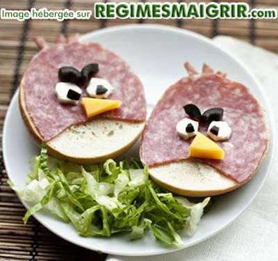 Des sandwiches représentant des Angry Birds