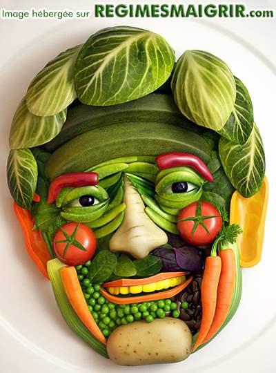 Une face humaine composée uniquement de légumes dans le style d'Arcimboldo