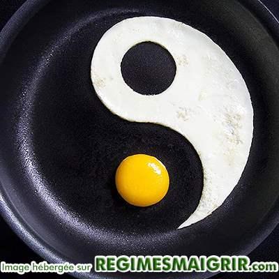 Symboles du yin et du yang faits avec du blanc d'oeuf et son jaune dans une poêle
