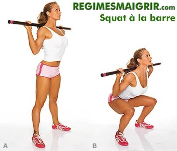 Le squat à la barre aide bien à raffermir les muscles glutéaux