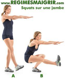 Faire le squat sur une seule jambe sollicite superbement les muscles des fesses