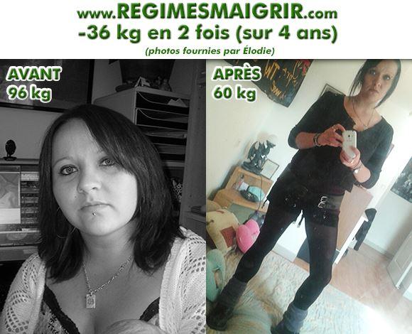 Transformation d'Elodie avec 36 kg de perdus après deux grossesses