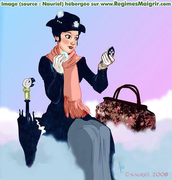 Une femme mince et superbement vêtue est en train de se maquiller