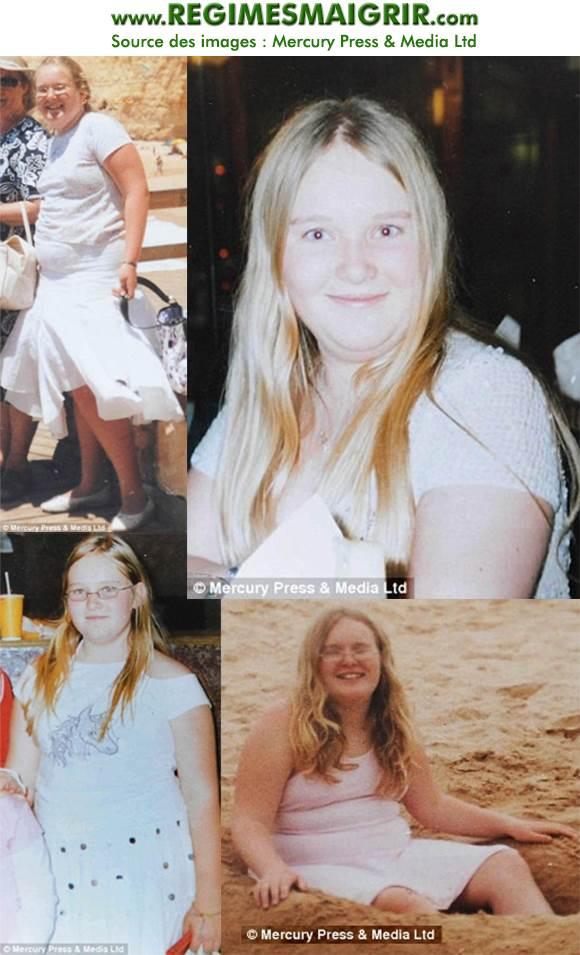 Photos d'Emma Day à 15 ans et pesant 95 kilos mais souriante malgré les brimades reçues au collège
