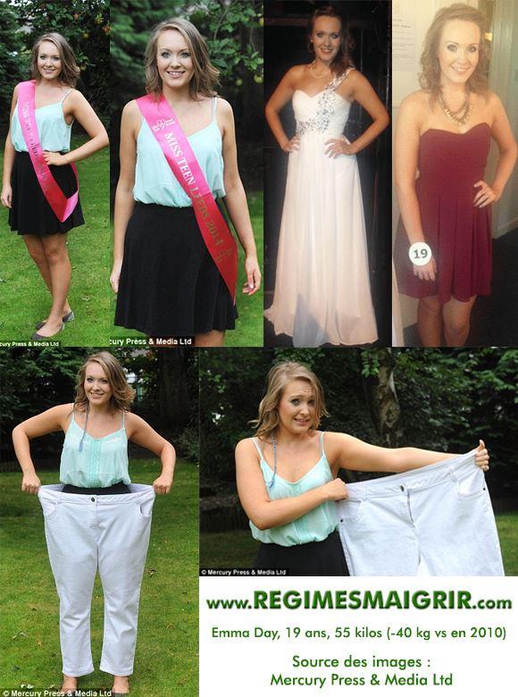 Photos d'Emma Day à 19 ans et pesant 55 kilos, toujours aussi souriante notamment grâce à la revanche qu'elle a pris sur ses tyrans