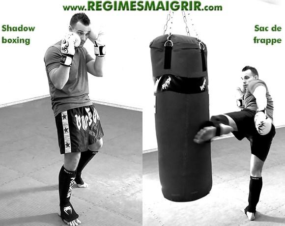 Le coach Julien Hameau en train de faire du shadow boxing et de pratiquer la boxe sur un sac de frappe
