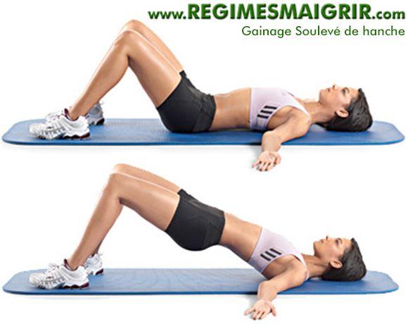 Une femme montre les deux étapes d'un soulevé de hanche