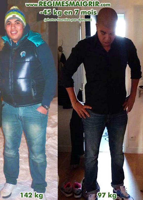 Photos avant-après d'Adnane montrant sa perte de 45 kg en 7 mois
