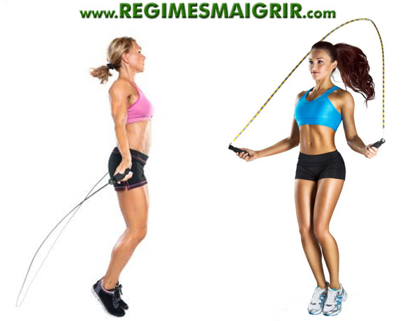 Deux femmes font de la corde à sauter pour garder une belle silhouette