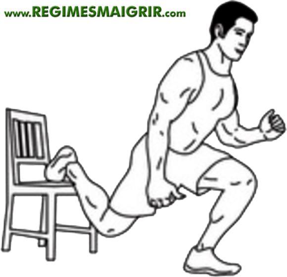 Schéma explicatif d'un squat bulgare