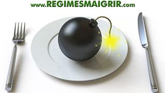 Un explosif posé sur  une assiette avec fourchette et couteau autour, représentant le danger des régimes amaigrissants