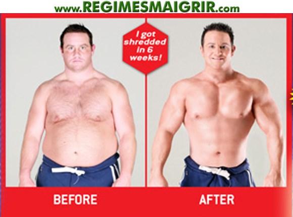 Une publicité vantant un amaigrissement spectaculaire avec des images avant après d'un homme