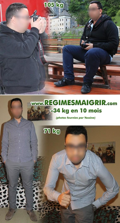 Photos avant-après de Yassine montrant sa fonte de 34 kilos en 10 mois