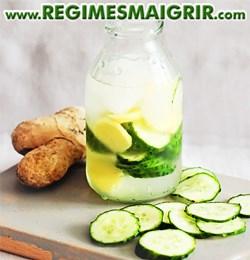 Cette eau intègre du concombre et du gingembre pour désintoxiquer l'organisme
