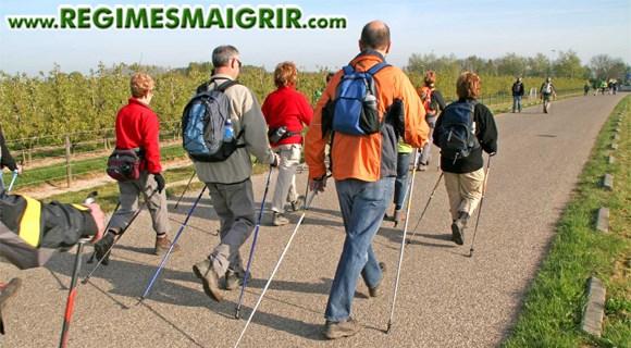 Un groupe de personnes font du nordic walking sur une route de campagne