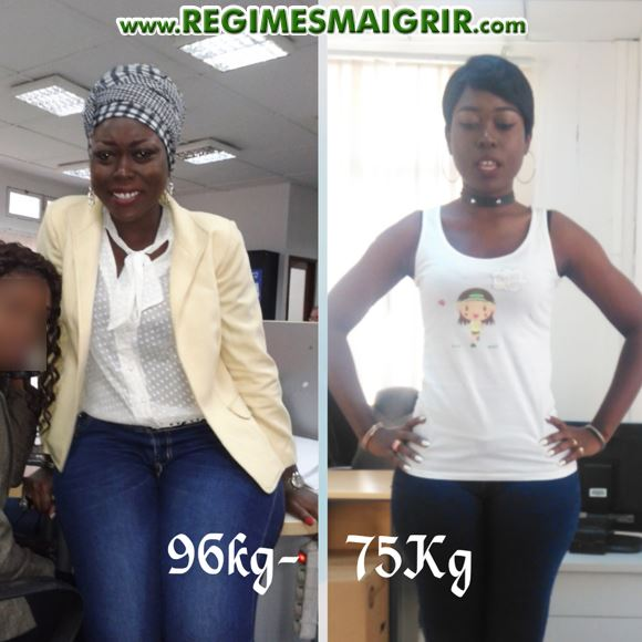 Tanya pose avec une collègue à 96 kilos, et une photo prise après l'amaigrissement