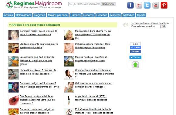 Capture d'écran de la page d'accueil du site RegimesMaigrir.com