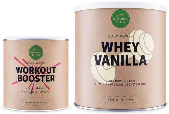 La gamme Body Power possède deux produits que sont la Whey Vanilla et le Workout Booster