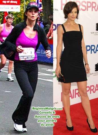 Katie Holmes fait beaucoup de sport (à gauche, on la voit en train de courir le marathon de New-York l'an dernier)