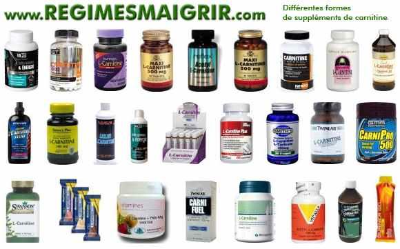 Diverses formes de suppléments de carnitine