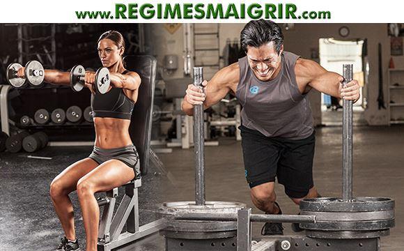 Une femme et un homme poussent leurs muscles à leurs limites pour obtenir une belle silhouette