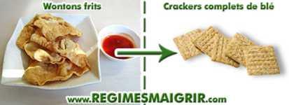 Remplacer les wontons frits par des crackers complet de blé