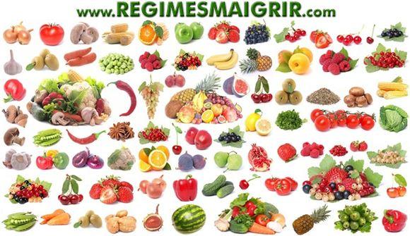 Fruits et légumes mis côte à côte