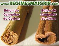Bâtons du cannelier de Ceylan et du cannelier de Chine côte à côte