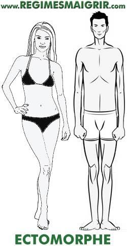 Une femme et un homme ectomorphe