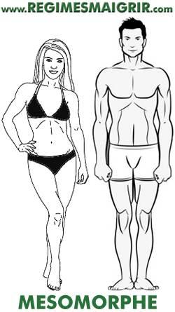 Une femme et un homme mésomorphe côte à côte