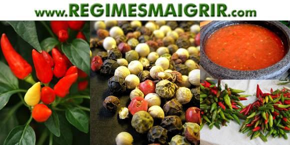 Les épices comme le piment rouge, le poivre noir, la salsa augmentent le processus thermogénique