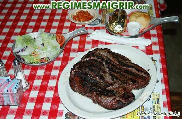 Photo de la nourriture qui fait le plus grossir au monde, un steak de deux kilogrammes