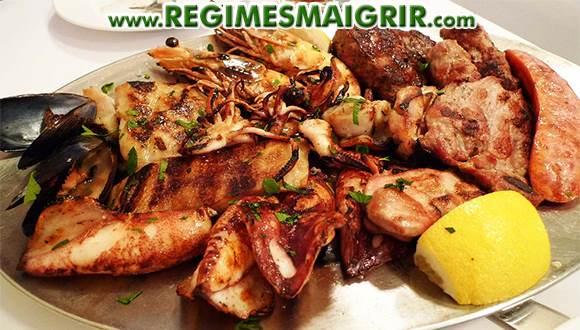 Quelques aliments riches en protéines de sources animales déjà cuits et posés sur une assiette