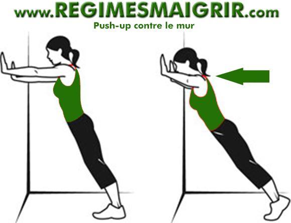 Illustration expliquant l'exercice de push up contre le mur